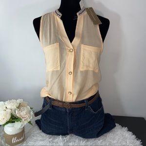 Blue rain sleeveless women's blouse